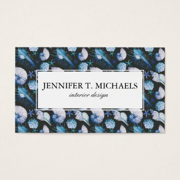 Beach Themed Corals With Shells Pattern Business Card