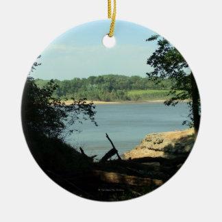 Coralville Lake Round Photo Souvenir Ornament