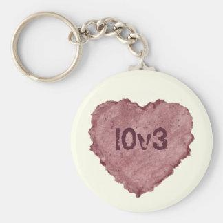 Corazón 009 del papel hecho a mano llavero redondo tipo pin