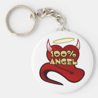 Corazón 100% del diablo del ángel llavero redondo tipo pin