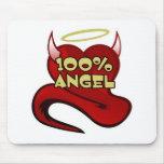 Corazón 100% del diablo del ángel tapete de ratón