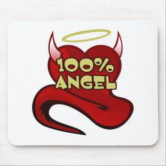 Corazón 100% del diablo del ángel mouse pads