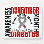 Corazón 1,1 del mes de la conciencia de la diabete alfombrilla de ratones