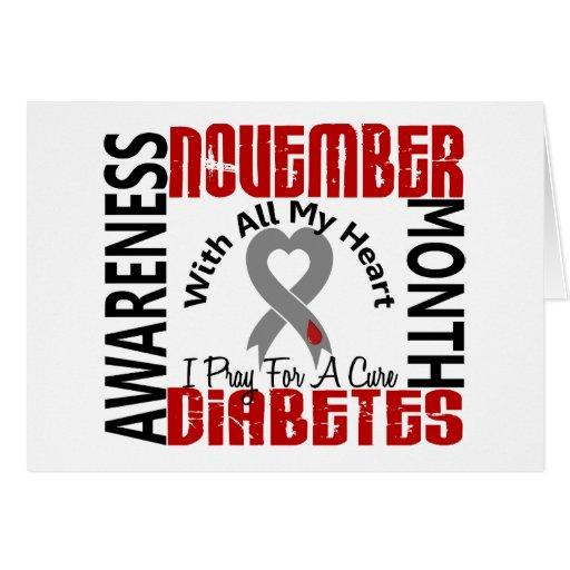Corazón 1,1 del mes de la conciencia de la diabete tarjeta de felicitación