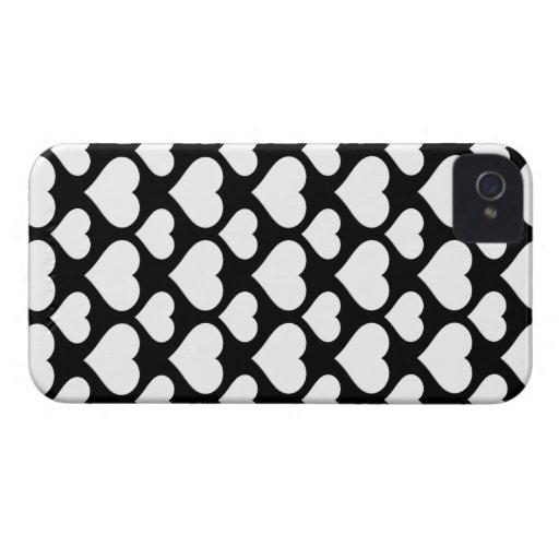 Corazón 1 blanco y negro iPhone 4 Case-Mate protector