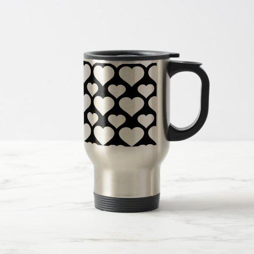 Corazón 1 blanco y negro tazas de café