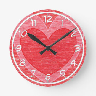 Corazón 1 reloj redondo mediano