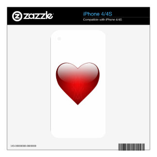 Corazón 2 de la tarjeta del día de San Valentín Calcomanías Para El iPhone 4