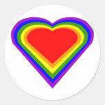 Corazón 2 del arco iris pegatinas redondas