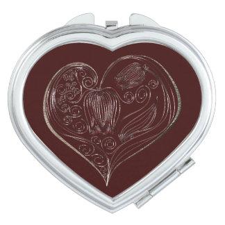 Corazón 3 de la flor de la pizarra - espejo espejo de viaje