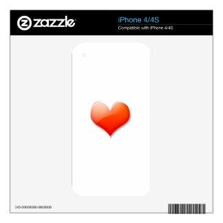 Corazón 3 de la tarjeta del día de San Valentín Calcomanías Para iPhone 4S