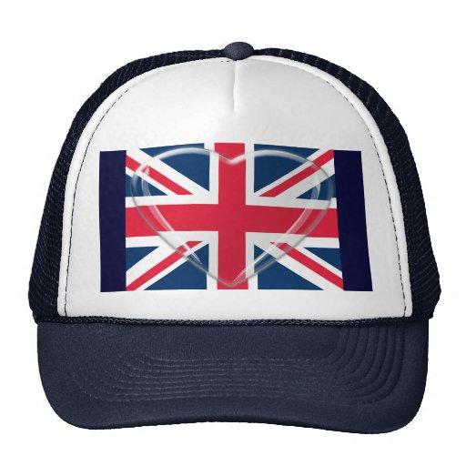 corazón 3D y bandera de cristal de Union Jack Gorros