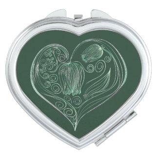 Corazón 4 de la flor de la pizarra - espejo espejo de viaje