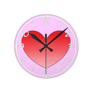 Corazón 4 reloj redondo mediano