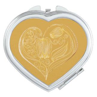 Corazón 7 de la flor de la pizarra - espejo espejos para el bolso