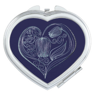 Corazón 8 de la flor de la pizarra - espejo espejo maquillaje