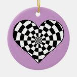 corazón a cuadros blanco y negro ornamentos de reyes magos