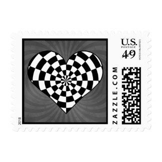 Corazón a cuadros blanco y negro sellos