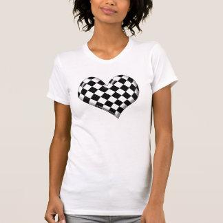 corazón a cuadros de la bandera de RaceFashion.com Camisetas