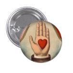 Corazón a disposición pin redondo de 1 pulgada