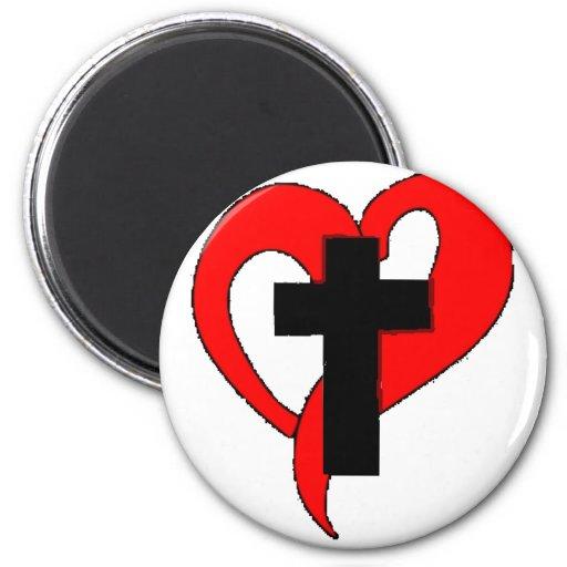 Corazón abierto del cristiano imán redondo 5 cm