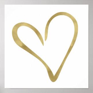 Corazón abierto I del oro Póster