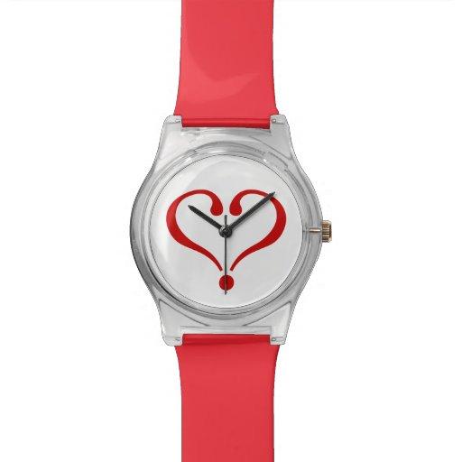 Corazón abierto rojo de amor y Día de San Valentín Reloj