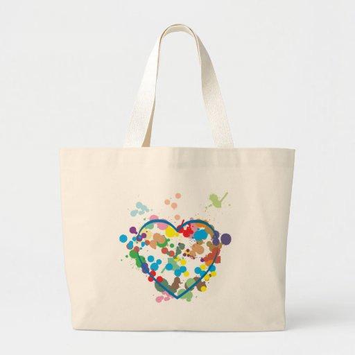 Corazón abstracto bolsa tela grande