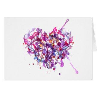 Corazón abstracto de la acuarela para el día de Sa Tarjeta De Felicitación