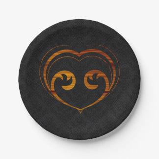 Corazón abstracto de Steampunk Platos De Papel