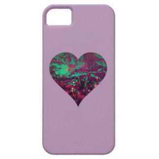 Corazón abstracto femenino bonito de la púrpura y funda para iPhone SE/5/5s