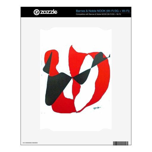 Corazón abstracto negro y rojo calcomanía para el NOOK