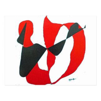 Corazón abstracto negro y rojo postal