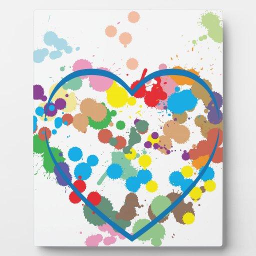 Corazón abstracto placas con foto