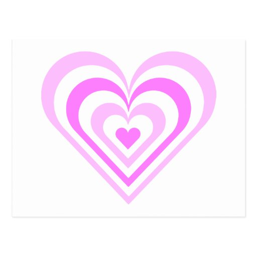 Corazón acodado rosa tarjetas postales