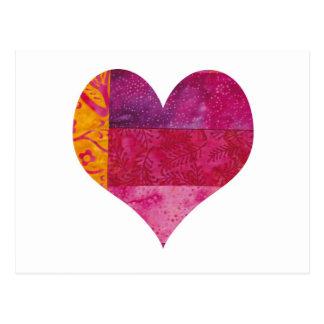 Corazón acolchado postal