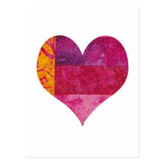 Corazón acolchado tarjetas postales