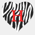 Corazón adaptable de la cebra pegatina de corazón personalizadas