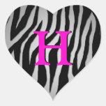 Corazón adaptable de la cebra pegatina en forma de corazón