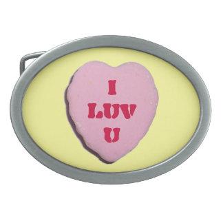 Corazón adaptable del caramelo de la tarjeta del d hebillas de cinturon ovales