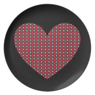 Corazón adaptable del diamante platos de comidas