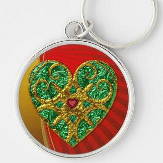 Corazón adornado con las joyas llavero redondo plateado