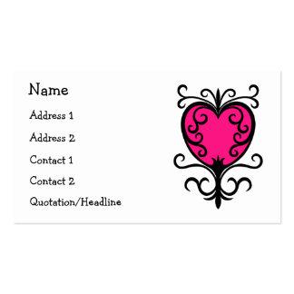 Corazón adornado del chica femenino punky de las tarjetas de visita