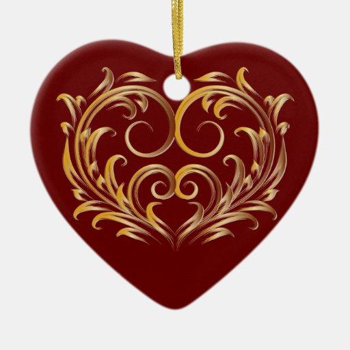 Corazón afiligranado 2B - ornamento del oro Adornos De Navidad
