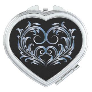 Corazón afiligranado - azul claro - acuerdo 2 espejos compactos