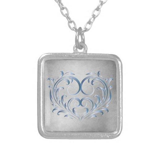Corazón afiligranado de plata azul 2 - collar