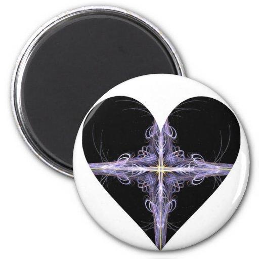 Corazón afiligranado del arte del fractal del dise imán de frigorífico