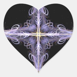 Corazón afiligranado del arte del fractal del pegatina en forma de corazón