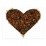 Corazón afiligranado del rojo del oro del metal postal