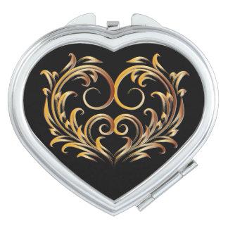 Corazón afiligranado - oro rojo - acuerdo 2 espejos de maquillaje